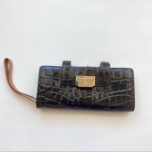 Kate Spade Black Patent Croc Wristlet Wallet